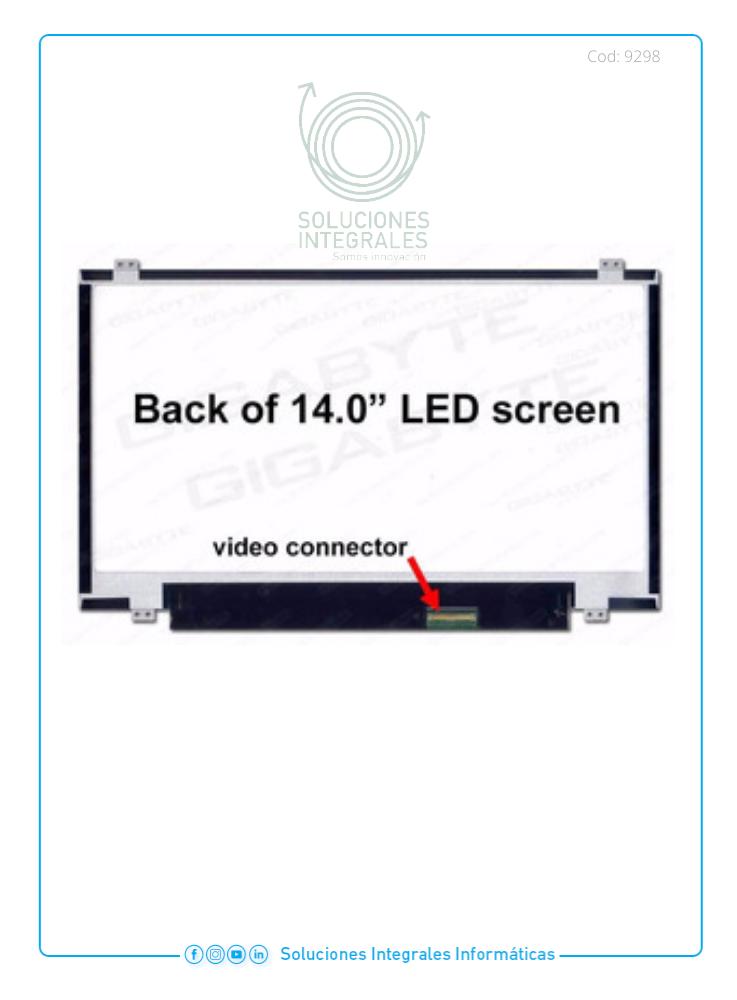 REPUESTO PANTALLA LAPTOP 14.0 LCD 40PIN